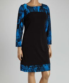 Love this Blue & Black Color Block Shift Dress - Plus on #zulily! #zulilyfinds