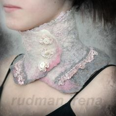 Шерстяные шарфы-воротники в бохо стиле Ирины Рудман