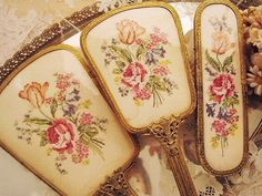 Needlepoint Duchess Vanity Set......I love needlepoint anything!