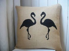 Rustic Hessian Flamingo Cushion from rustic country crafts. i own & love this.