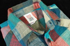 TOPO DESIGNS Flannel Shirt Small w Western Style Red Blue Gray Plaid Made in USA