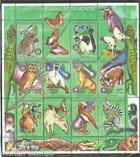 MADAGASCAR 1999  ANIMALS OF THE WORLD SHEET WITH  BOY  SCOUT INSIGNIA  MINT NH