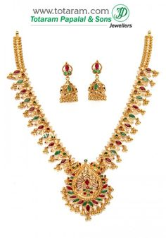 22 Karat Gold Ruby & Emerald Necklace & Long Earrings Set with intricate workmanship. Gross Gold Weight: grams Gold Weigth of the Necklace: Gold Jhumka Earrings, Gold Earrings Designs, Emerald Necklace, Drop Earrings, Necklace Designs, Gold Necklace, Indian Gold Jewellery Design, Jewelry Design, Gold Jewelry Simple