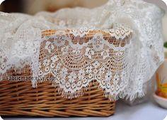 Ivory White Eyelash Lace Fabric, Fringe Scalloped Edge Lace Netting Gauze Veil Faric- Lace by Yard one yard Lace 36 x 59