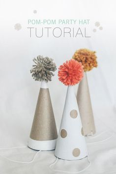 DIY pom pom party hat tutorial | Kelli Murray | 100 Layer Cakelet  http://www.100layercakelet.com/2013/09/16/diy-pom-pom-party-hat/