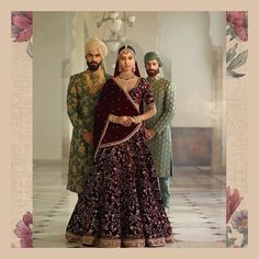 The Roshanara Lehenga. In colours of gulkand, cardamom, pistachio and pomegranate. Rendered with the finest quality zardosi, taari ka kaam and velvet applique. Complimented by deep teal and Iranian Turquoise sherwanis in gold and silver hand beaten aari.  #Sabyasachi #Bridalwear #DiamondJewellery #JadauJewellery #GoldJewellery #BridalJewellery #IndianDesigner #IndianCouture2017 #TheWorldOfSabyasachi  Location Courtesy: Rambagh Palace @rambaghpalace
