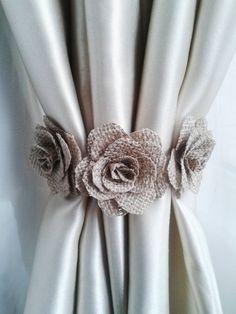 Curtain tie back,2pcs,Burlap Flower curtain tie backs,Shabby chic curtains, Burlap Curtain Tie Back,Baby Nursery Decor,Girls Curtains