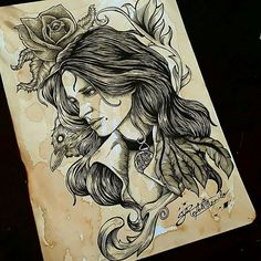 Yennefer of Vengerberg - The Witcher - Blackwork, Witcher Tattoo, Yennefer Of Vengerberg, The Witcher 3, Wild Hunt, New Years Eve Party, Ink, Wallpaper, Tattoos