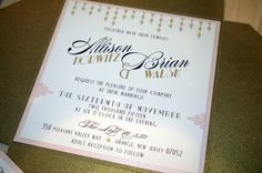 gold blush pink art deco gatsby ribbon square modern wedding invitation by ELESINVITATIONS on Etsy