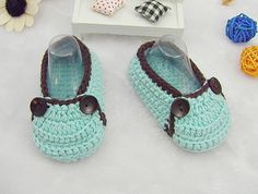 Turquoise Crocheted Baby Shoes, Crochet Soft Soled Shoes with Two Buttons to Open for Newborn Baby as Baby Shower Gift