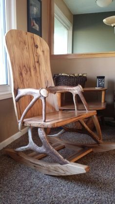Elk antler rocking chair