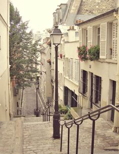 Paris Photo - Montmartre - 8x10 Paris - French Home Decor - Lamp - Streetlight - Urban - Charming, Flowers, Windows, Pink - Fine Art Photo