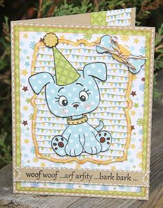 Peachy Keen Stamps: Lee-Ann Kubinec :: Party Pup Card