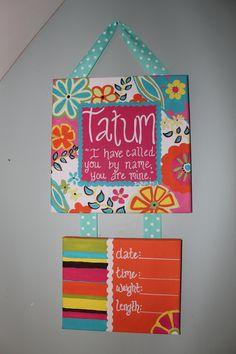 Custom Door Hanger. New Baby Birth Anouncement. Hospital Door Hanger. $45.00, via Etsy.