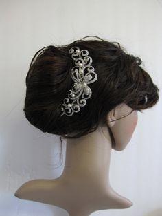 Vintage style hair comb,bridal hair comb,Swarovski crystal comb,rhinestone,wedding hair,Ivory Bridal Pearl Comb,wedding hair comb,headpiece via Etsy