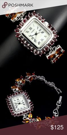 Yellow Citrine ,Garnet MOP Dial  925 Silver Watch New   Precious Yellow Citrine ,Garnet with Mother of Pearl  (MOP) Dial  925 Sterling Silver Butterfly Watch with Roman Numerals  6.5 inches in length 12 Citrines are 8x4 MM each, 12 Garnets are 5x3MM each and 27 3MM round Garnets surround the Face Yellow Citrine ,Garnet MOP Dial  925 Silver Watch the Watch Case Back is Stanless Steel  The Citrine and Garnet Marques make up a Butterfly Band with Garnet surrounding the Mother of Pearl Watch…