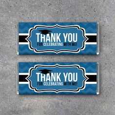 Graduation Printable THANK YOU Candy Bar Wrappers in Blue make memorable party favors! By Studio 120 Underground, $5.
