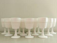 12 Vintage Milk Glass Goblets Hobnail Set of by ModRendition, $132.00