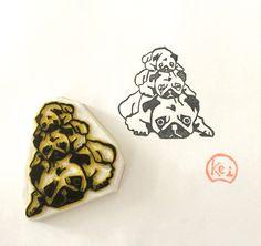 PUGS JENGA - Hand Carved Rubber Stamp/Eraser Stamps/Overcrowding/Pug/Dog/Paw/Pet by KeiWorkshop on Etsy https://www.etsy.com/hk-en/listing/293345333/pugs-jenga-hand-carved-rubber