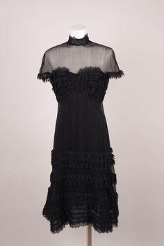 Tadashi NWT $310 Black Silk Ruffle Dress #Tadashi #RuffleDress