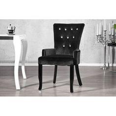Un joli fauteuil en tissu de velours noir, l'assise est rembourréeenpolyester, et les pieds en bois massif,avec des boutons en strass brillantsrenforcera...