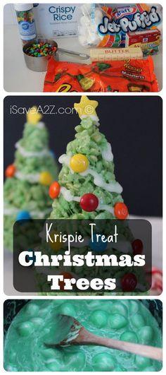 Krispie Treat Christmas Trees - iSaveA2Z.com