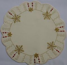 Christmas Linen Round Shaped Off White Doily with Gold Stars and Snowflakes *** This is an Amazon Affiliate link. Want additional info? Click on the image.