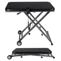 """Portable Electric Lift Grooming Table by ComfortGroom by ComfortGroom. $449.00. Height adjustment of 25"""" to 32"""" with both manual and hand remote. 36"""" x 24"""" table dimension. 300 lb weight capacity. Collapsible and wheeled, weighs 60 lbs.. Lifetime warranty on frame, 2 year warranty on motor. The Portable Electric Grooming Table is designed for the traveling groomer or groomer with a tight workspace. This table is the first of its kind that can collapse completely flat for..."""
