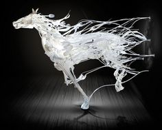 Japanese-born artist Sayaka Ganz creates sculptures out of discarded plastics found in thrift stores and converts these unwanted materials into life-like horses in mid-gallop.