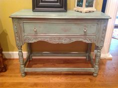 Duck Egg Blue Chalk Paint® decorative paint by Annie Sloan and Soft Wax over natural wood created this lovely distressed sideboard by Jill Weaver Googe