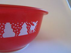 Vintage Pyrex Red 1L Bowl 322 Christmas Trees, Snowman, Reindeer RARE. $18.00, via Etsy.