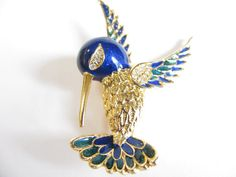 Vintage Hummingbird Pin / Brooch  Gold Tone  by WhimsicalEverAfter, $26.00