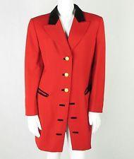 ESCADA MARGARETHA LEY RED Coat EQUESTRIAN Riding Jacket Sz 38/m 1980s