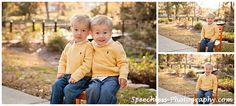 Cute twins, toddler boys, fall family photo session in park, yellow sweater, child size chair