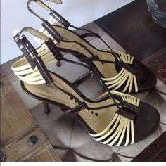 Anthropologie Blay Concept Patent Sandals 36/6 Blay Concept Strappy Patent Sandals 36/6. Color Brown /Cream. Condition Excellent. No box Anthropologie Shoes Sandals