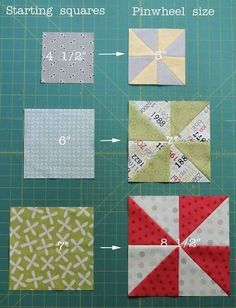 Easy Pinwheels Pinwheel sizes, Cluck Cluck Sew Fast HST method – starch the starting squares = 4 HSTs turn out perfectly. Here are the starting square sizes and finished pinwheel sizes from them Patchwork Quilting, Quilting Tips, Quilting Tutorials, Quilting Projects, Quilting Designs, Sewing Projects, Sewing Tips, Triangle Quilt Tutorials, Baby Quilt Tutorials