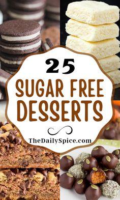 Sugar Free Deserts, Sugar Free Sweets, Sugar Free Candy, Sugar Free Cookies, Sugar Free Recipes, Low Calorie Desserts, Healthy Desserts, Delicious Desserts, Dessert Recipes