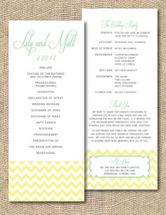Cute double sided wedding program. 3 color printing and double sided.