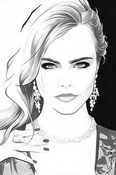 Cara by Kenneth J. Franklin. Fashion illustration on Artluxe Designs. #artluxedesigns