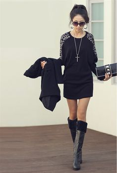 * Free Shipping* Sexy Black Loose Long Sleeve