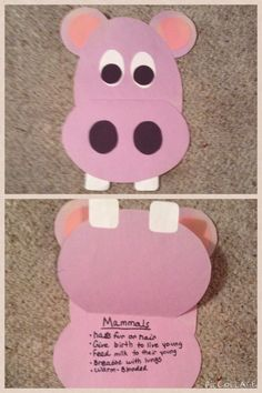 I use this hippo craft when teaching about mammals.  The mouth opens up nd students write down facts about mammals!  Very cute!