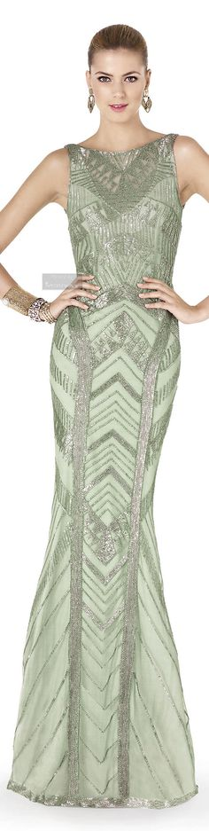 A stunning dress, but absolutely love the color, ....a subtle shade of GREEN! Pronovias. 2015 Party Dress Collection. http://es.pinterest.com/meriyay/fashion-dresses/