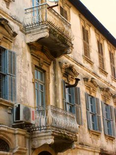 Beautiful balcony architecture in Antakya, Turkey. (City also known as Antioch or Hatay) In the Middle East.