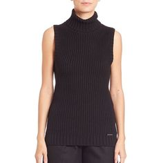 MICHAEL MICHAEL KORS Shaker Sleeveless Turtleneck Sweater ($93) ❤ liked on Polyvore featuring tops, sweaters, apparel & accessories, black, sleeveless turtleneck, chunky sweater, sleeveless sweater, ribbed turtleneck sweater and ribbed sweater