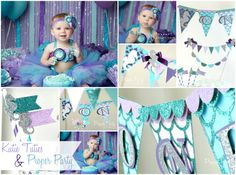 Under the Sea Ocean Turquoise Aqua Lavender Purple Teal Girls First Birthday Birthday Party Decorations Ideas by ProperPartyStudio