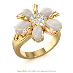 """Cabochon Flower Ring with Sapphire Pink and Diamonds in Yellow Gold - """"Flora"""""""