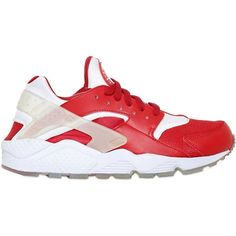 NIKE Milano Air Huarache Run Prm Sneakers - White/Green ($175) ❤ liked on Polyvore featuring mens, men's shoes, men's sneakers and red