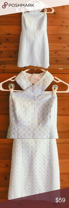 "MICHAEL Michael Kors Cross Neck Dress Light blue and white patterned dress. Zipper closure. 32"" long. MICHAEL Michael Kors Dresses Mini"