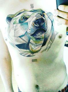 polar bear geometric style tattoo by Peter Aurisch