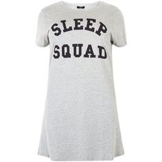 New Look Plus Size Grey Sleep Sqaud Print Nightshirt (250.515 IDR) ❤ liked on Polyvore featuring intimates, sleepwear, nightgowns, grey, plus size night shirts, plus size nightgowns, short sleeve sleep shirt, night shirt and plus size sleepshirt